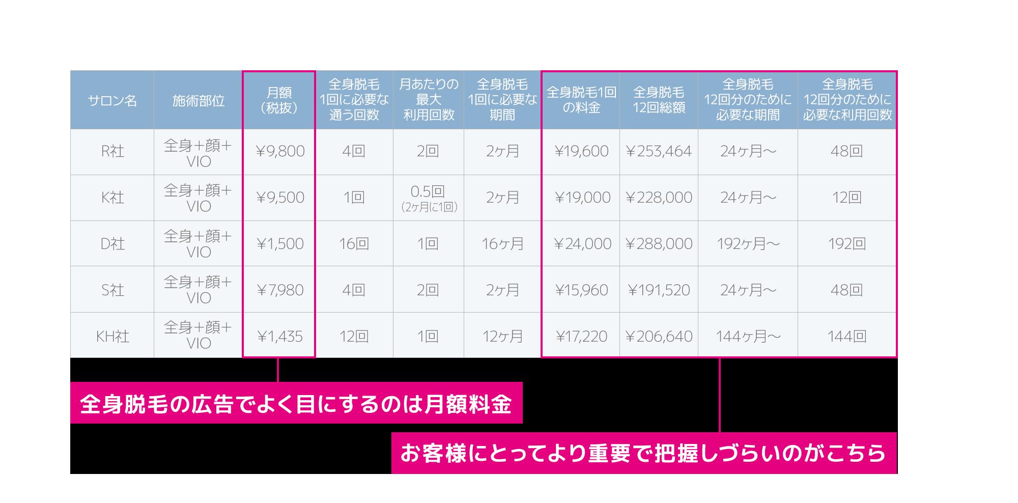 有名サロン月額制比較表